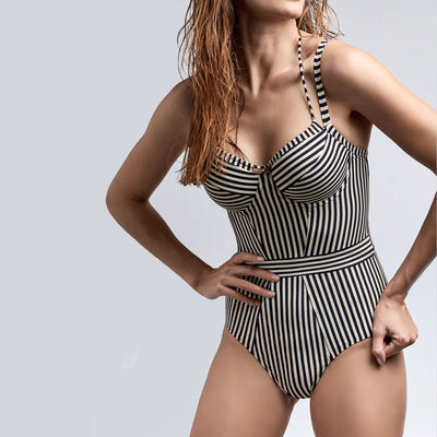 Marlies Dekkers Holi Vintage Plunge Balcony Swimsuit 18-195 Blue Stripe