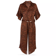 Midnight Bakery Animal Print Satin Pajama Set FRK145 Copper Black