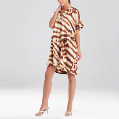 Natori Sleep Ethereal Tiger Satin Tunic Caftan Mc2010 Natural Animal