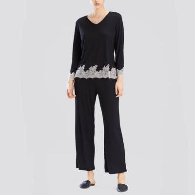 Natori Luxe Shangri-La Long Sleeve PJ Set F76356 Black