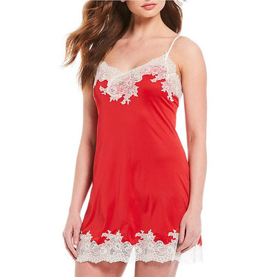 Natori Enchant Lace Trim Chemise R78130 Crimson