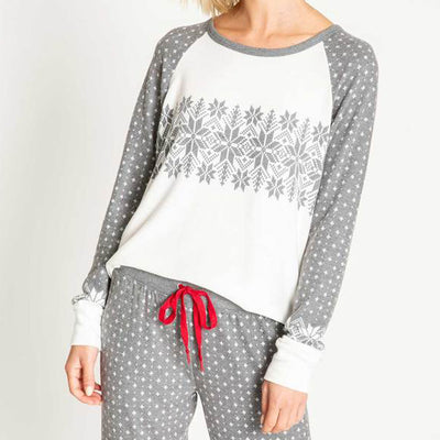 PJ Salvage Snowed In Holiday PJ Set Charcoal