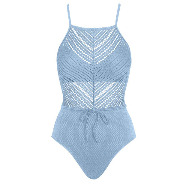 Robin Piccone Perka High Neck One Piece- Waist Tie 192621 Pacific Blue