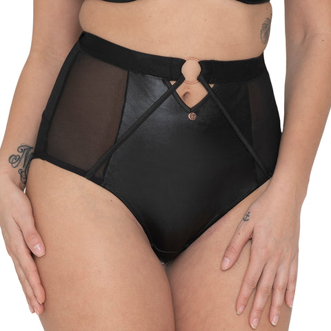 Scantilly Harnessed Black High Waist Brief ST8208 Black