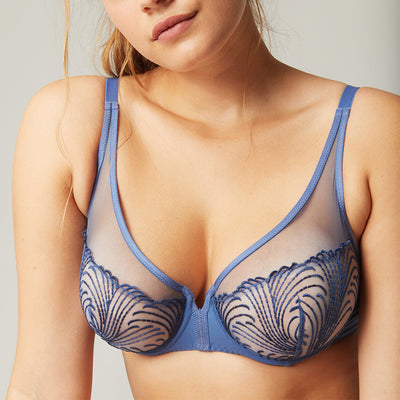Simone Perele Nuance Full Coverage Plunge 12N319 Denim Blue
