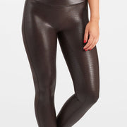 Spanx Faux Leather Croc Shine Leggings 20303R Brown