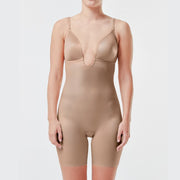 Spanx Suit Your Fancy Plunge Low-Back Mid-Thigh Bodysuit 10157R Beige