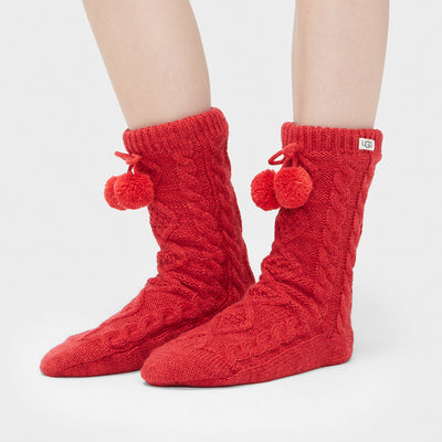 UGG PomPom Fleece Lined Crew Socks 1014837