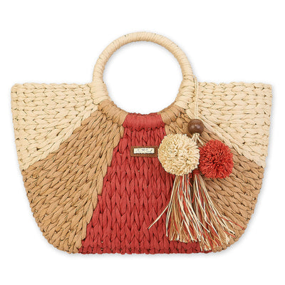 Sun 'N' Sand Natural Straw Shoulder Tote CE6302 Red