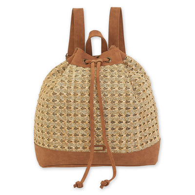 Sun 'N' Sand Poly Straw Backpack CE6304 Tan