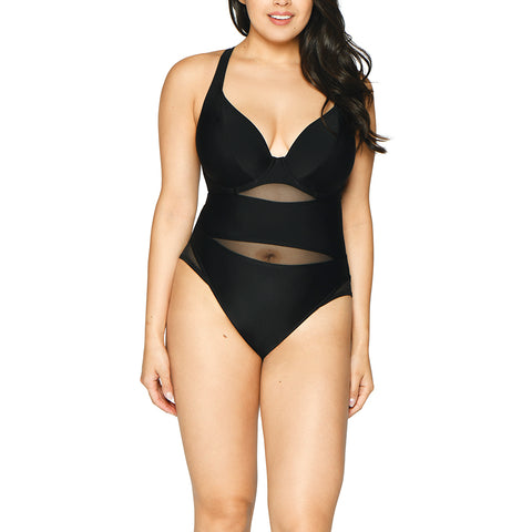 Curvy Kate Sheer Class Black Plunge Swimsuit CS1605 Black