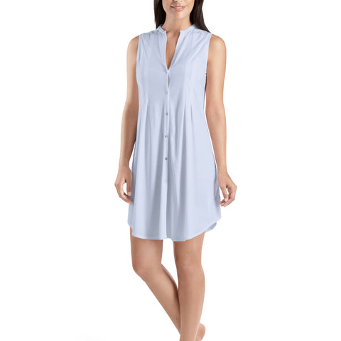 Hanro Cotton Deluxe Sleeveless Dress 77952 Blue