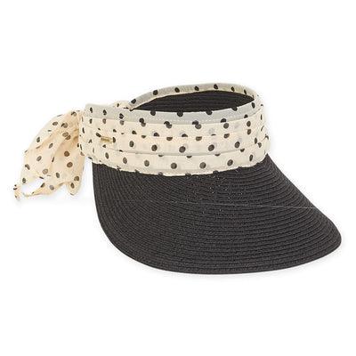 Sun 'N' Sand Visor With Polka Dot Chiffon Trim HH2349 Black