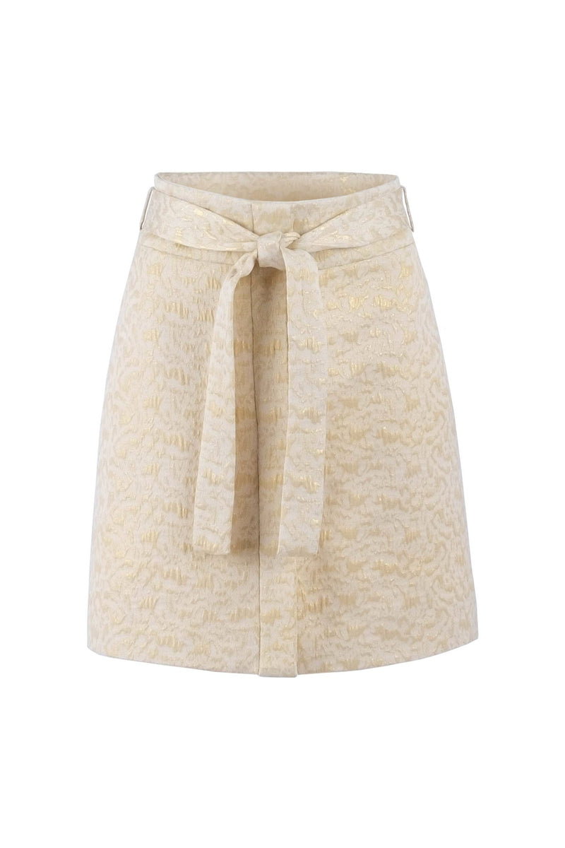 Limited-edition cream-gold jacquard mini skirt