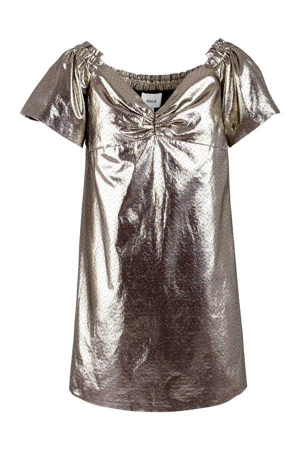 Golden-metallic off-shoulders shift jacquards dress