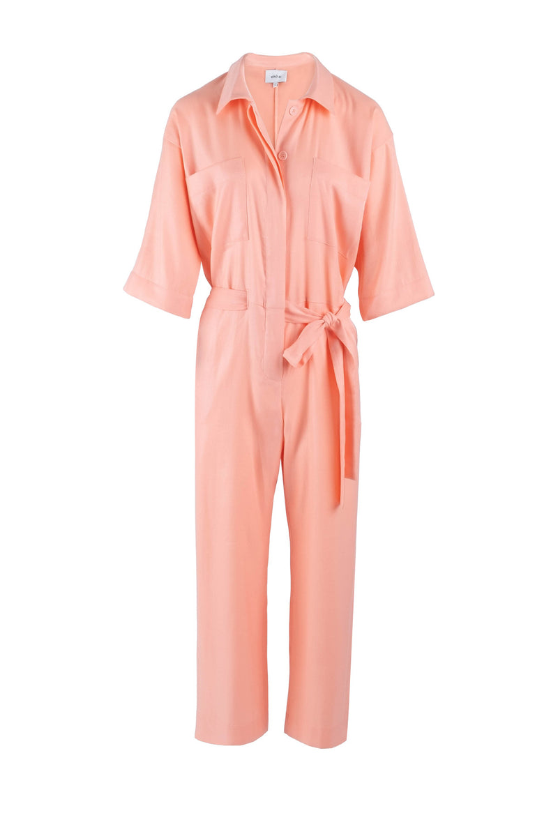 Creme-peach cropped utility jumpsuit