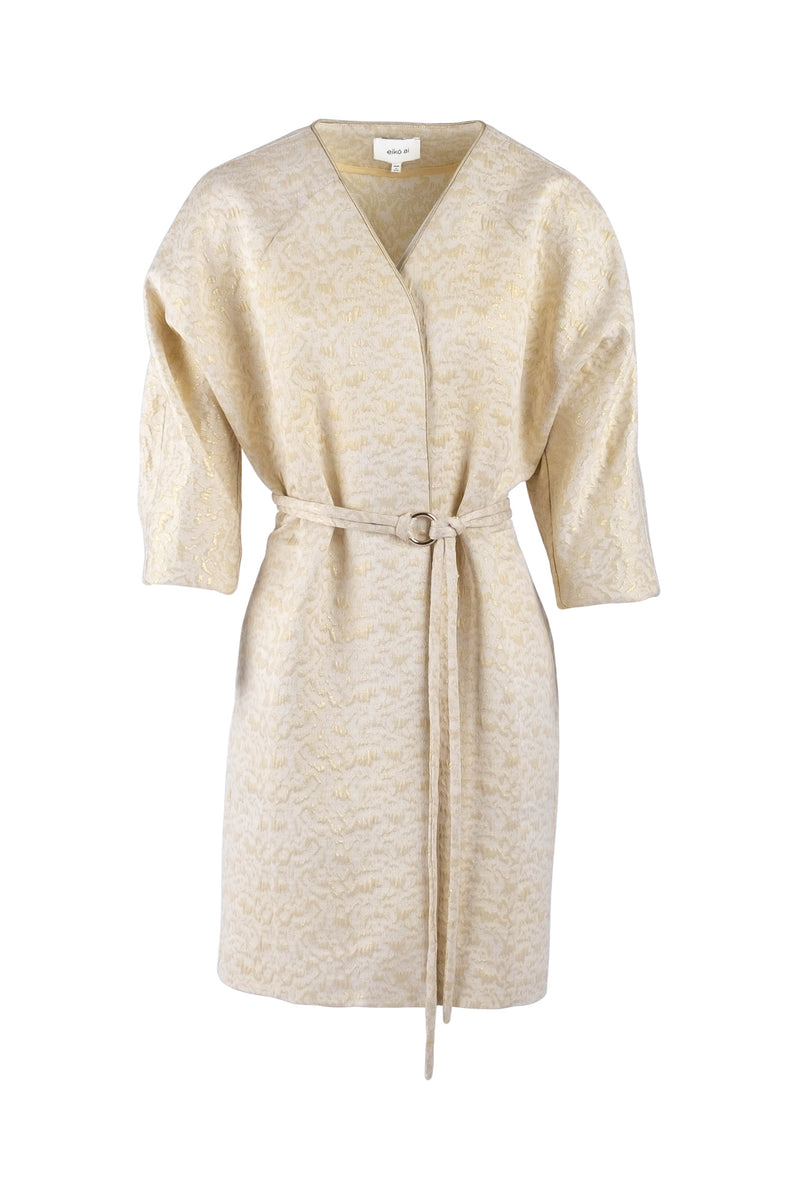 Oversized cream-gold jacquard belted coat