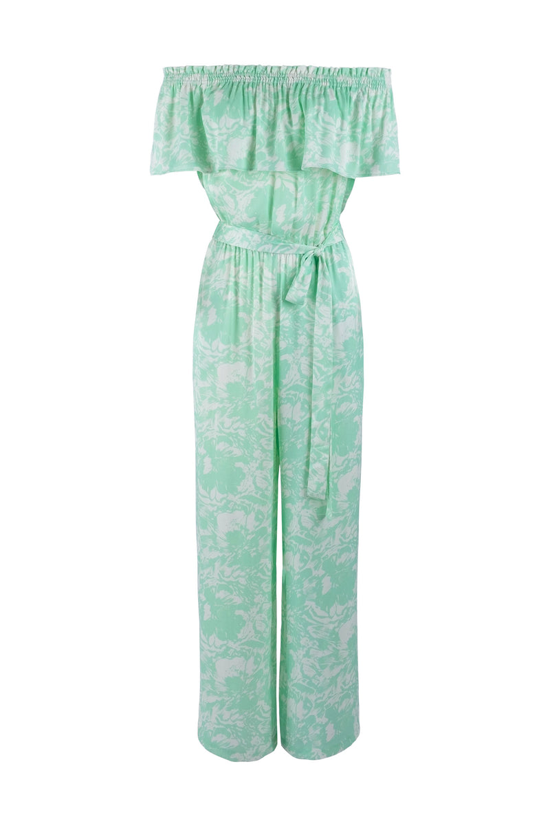 Limited-edition satin-printed off-shoulder jumpsuit eikō ai