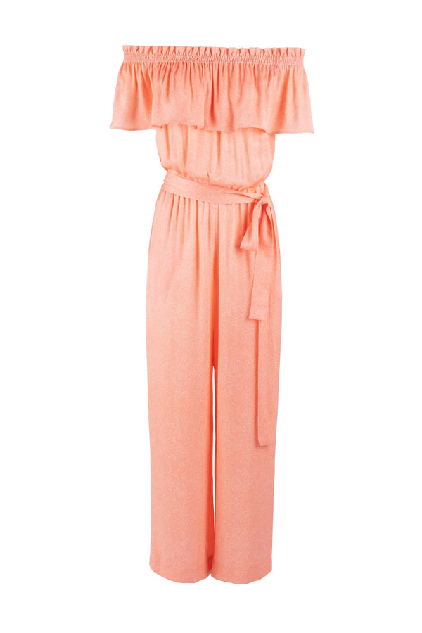 Peach satin printed off-shoulder jumpsuit eiko ai
