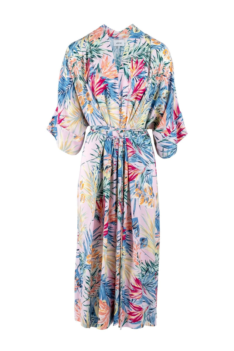 Limited-edition multicoloured belted-kimono sleeve maxi dress eiko ai