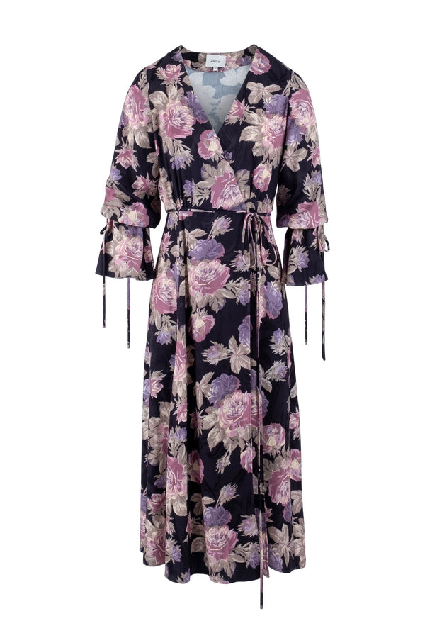Limited-edition floral-print jacquard robe dress eiko ai
