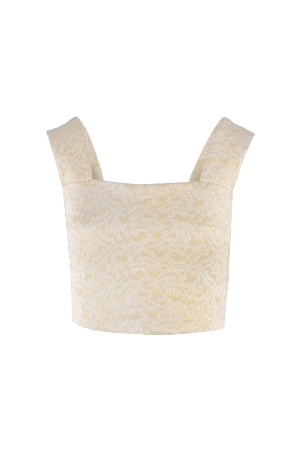 Limited-edition light gold Jacquard sleeveless crop top