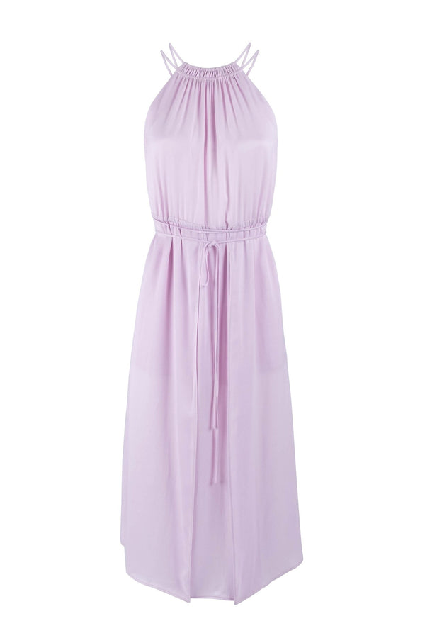 Limited-edition lilac midi halter neck dress eiko ai