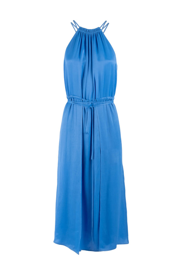 Limited-edition blue midi halter neck dress eiko ai