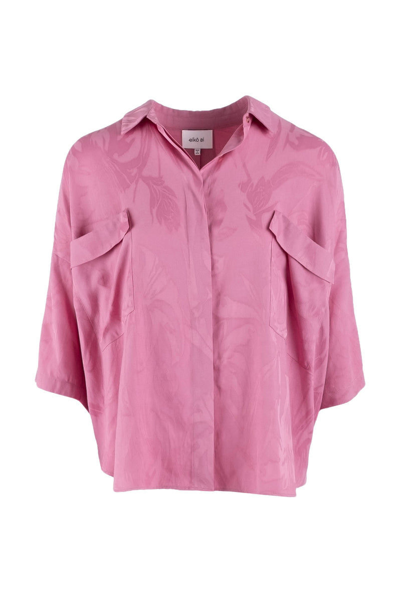 Limited-edition pink oversized jacquard shirt eiko ai