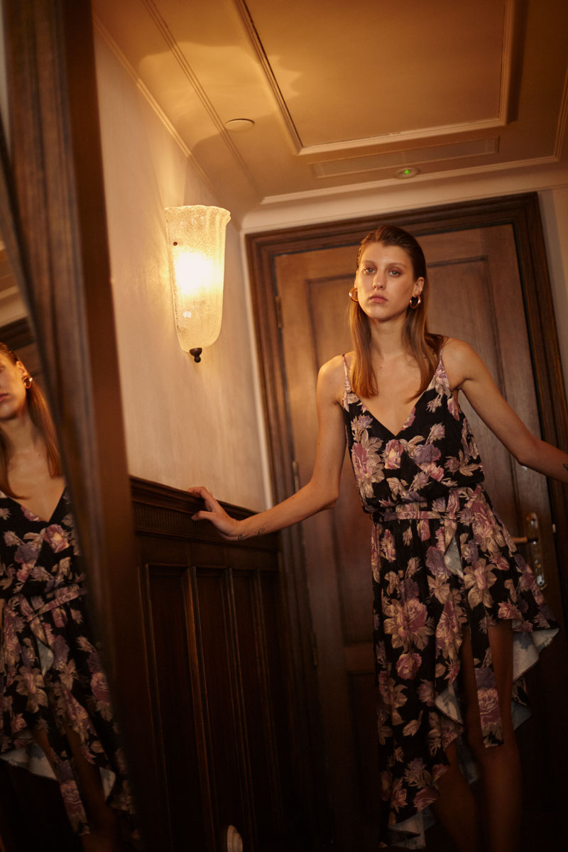 Limited-edition allover floral print irregular ruffled dress eiko ai