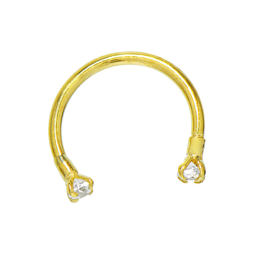 14K Solid Gold Cubic Zirconia Body Piercing Horseshoe Circular Barbell (18 Gauge, 7/16