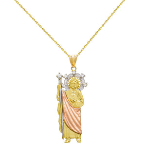 14K Tri Color Gold San Judas (St. Jude) Charm Pendant Necklace