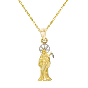 14K Two Tone Gold Santa Muerte Charm Pendant Necklace