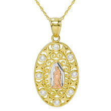 14K Tri Color Gold CZ Virgin Mary Guadalupe Pendant Necklace