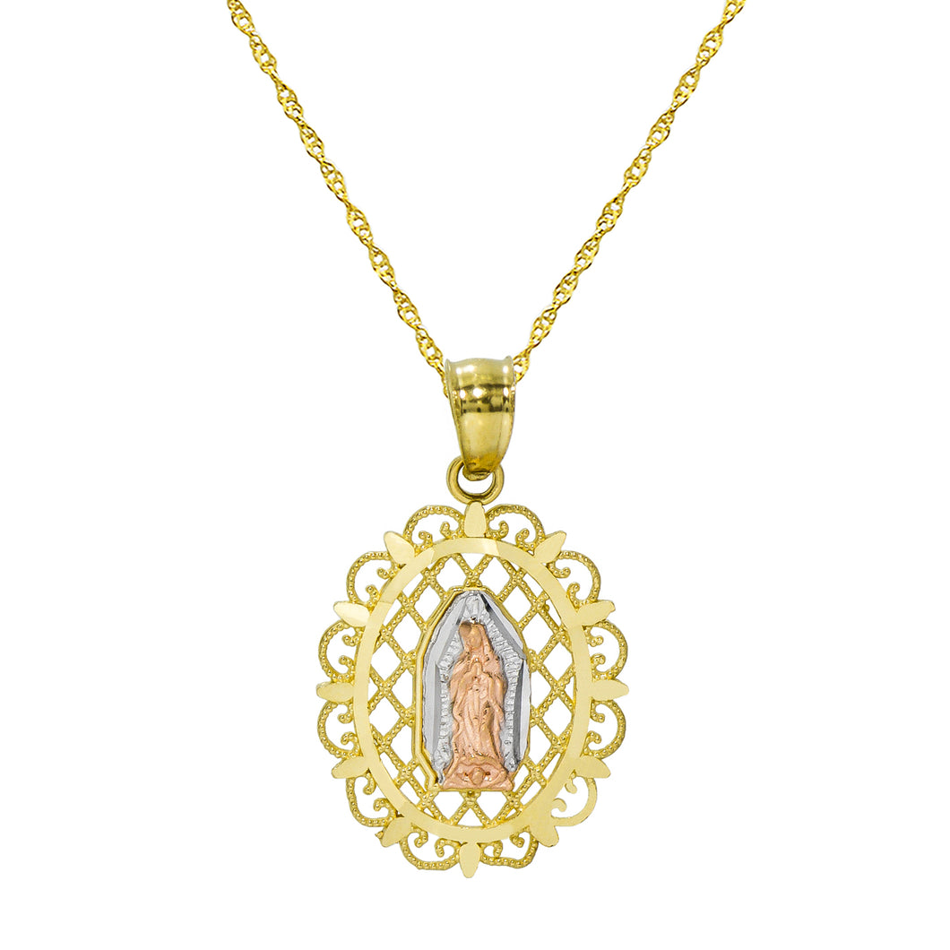 14K Tri Color Gold Virgin Mary Guadalupe Pendant Necklace
