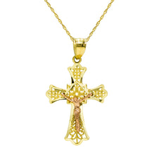 14K Two Tone Gold Jesus Christ Cross Pendant Necklace