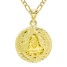 14K Yellow Gold Jesus and Gudalupe Double Sided Pendant Necklace