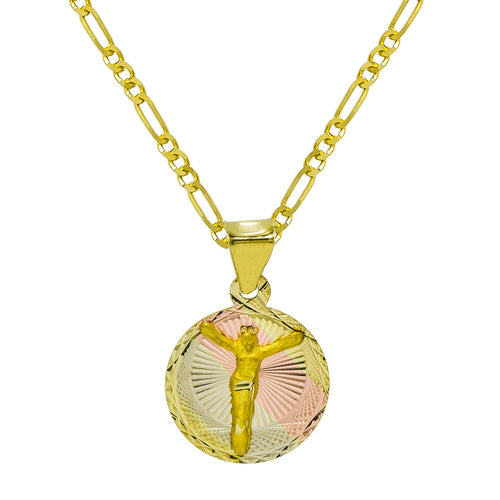 14K Tri-Color Gold Jesus Christ Pendant Necklace