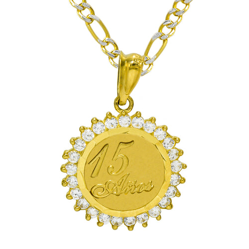 14K Yellow Gold 15 Anos Quinceanera Pendant Necklace