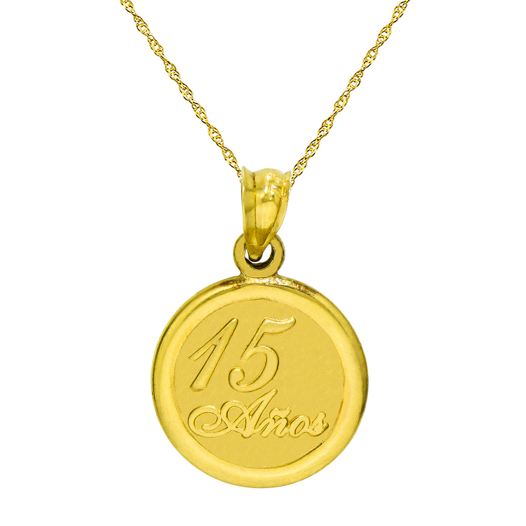 14K Tri-Color Gold 15 Anos Quinceanera Pendant Necklace