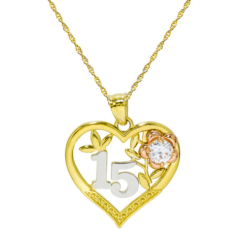 14K Tri-Color Gold 15 Quinceanera Heart Pendant Necklace