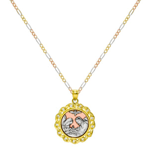 14K Tri-Color Gold Bautizo Baptism Pendant Necklace
