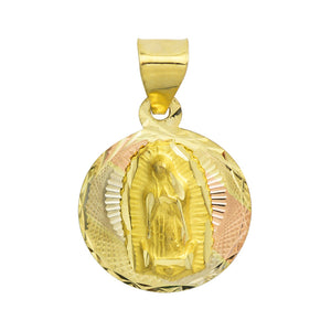 14K Tri-Color Gold Virgin Mary Guadalupe Charm Pendant