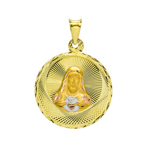 14K Tri-Color Gold Sacred Heart of Jesus and Virgin Mary Guadalupe Double Sided Charm Pendant
