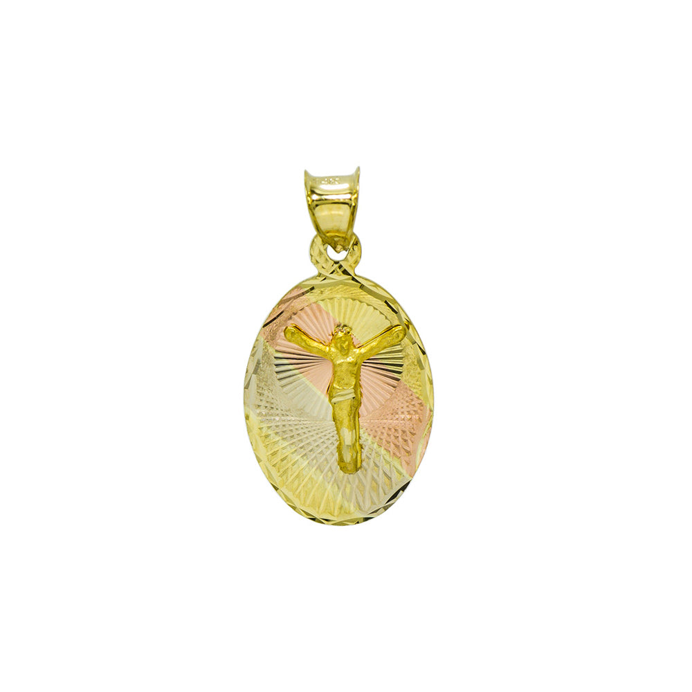 14K Tri-Color Gold Jesus Christ Charm Pendant