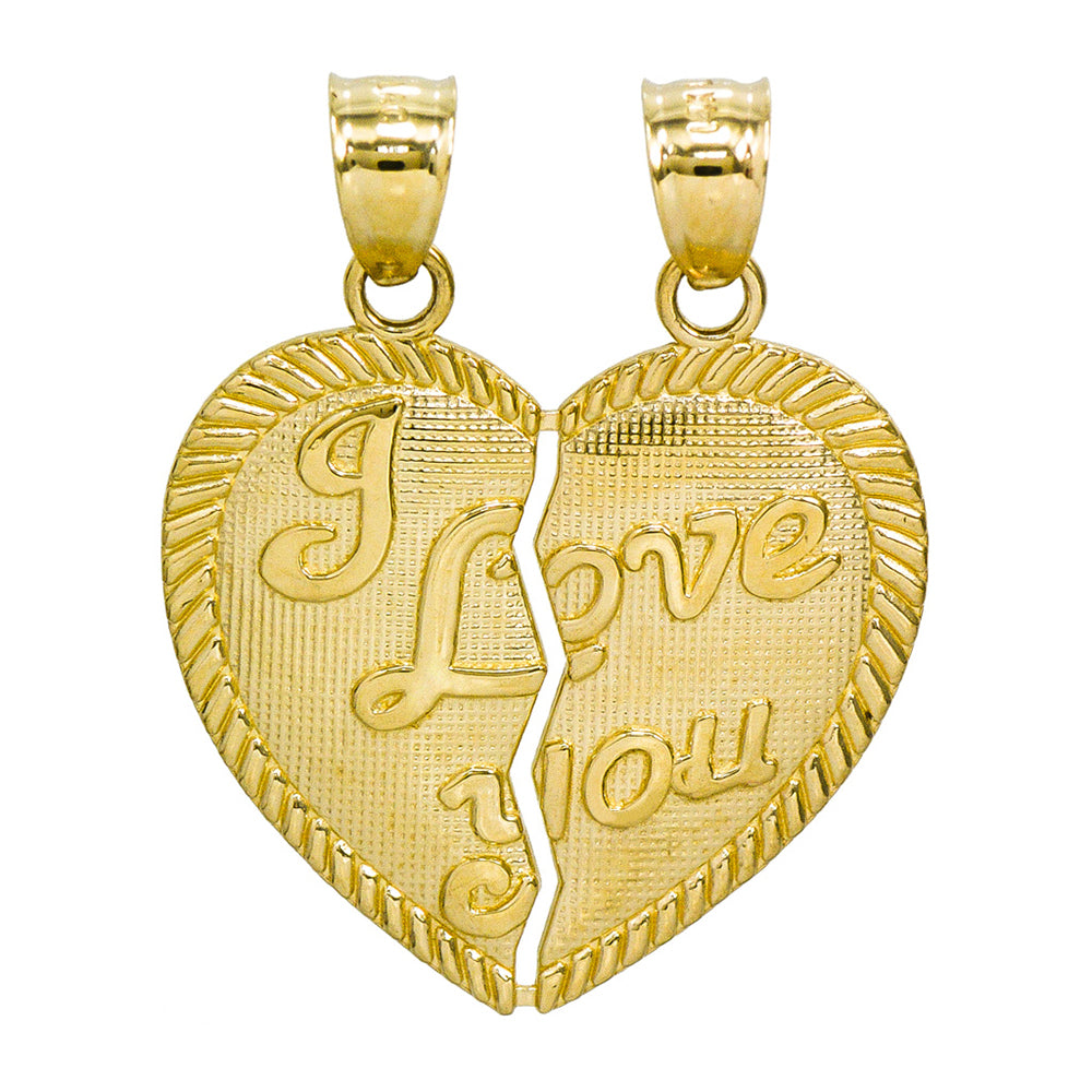 14K Yellow Gold I Love You Breakable Heart Charm Pendant