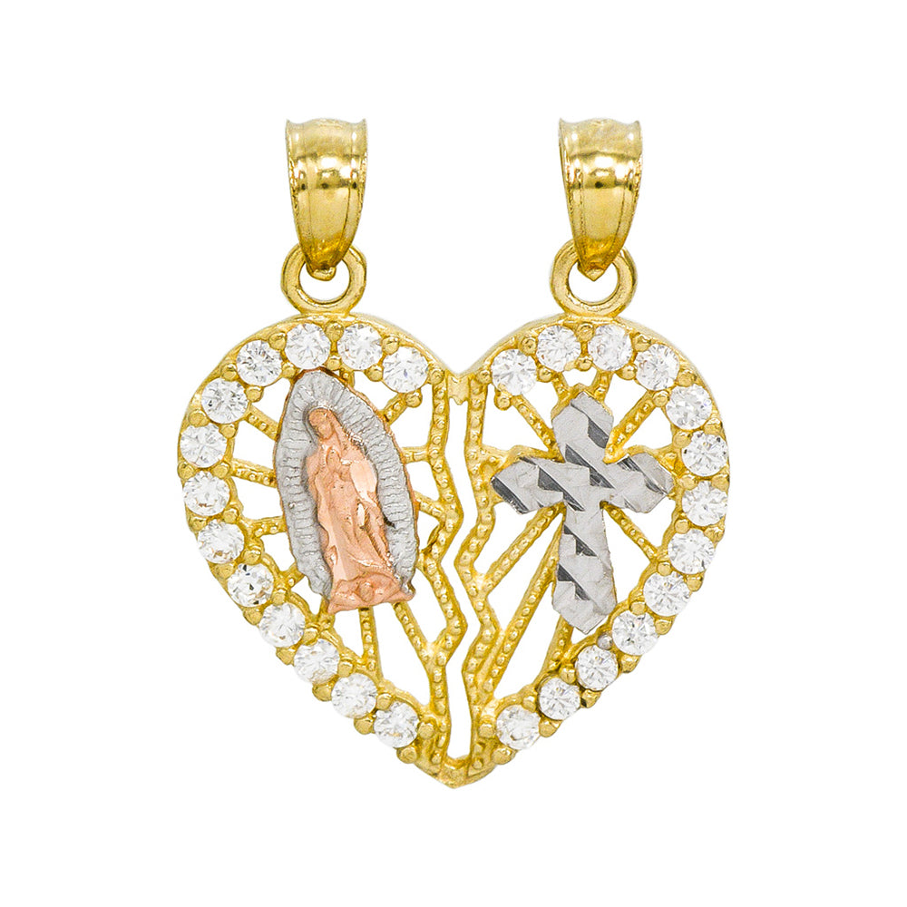 14K Tri-Color Gold Guadalupe and Cross Breakable Heart Charm Pendant