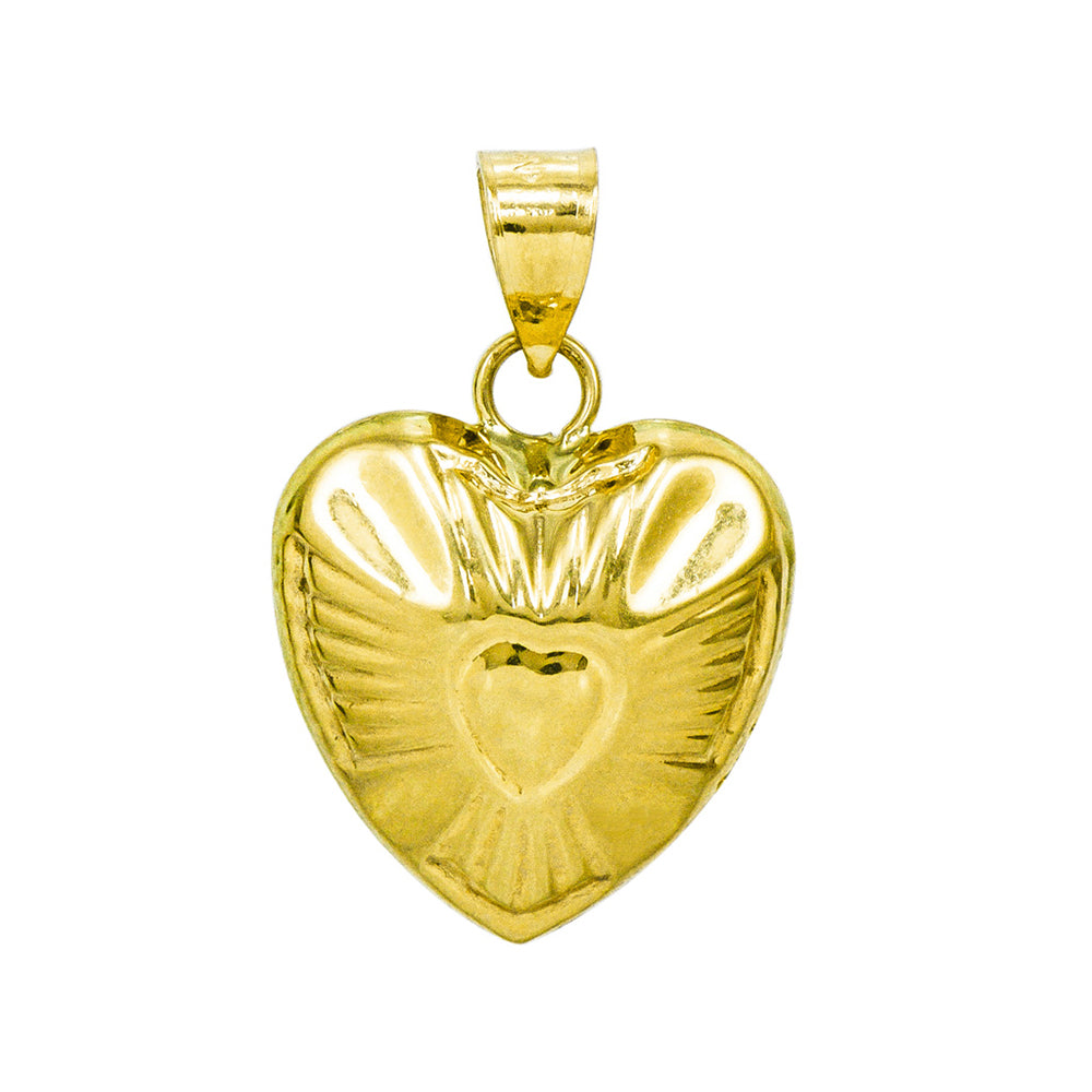 14K Yellow Gold Heart Charm Pendant