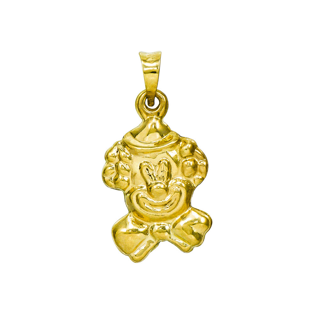 14K Yellow Gold Clown Charm Pendant