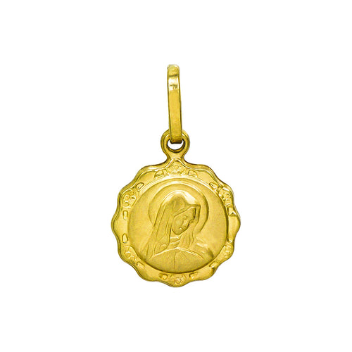 14K Yellow Gold Virgin Mary Charm Pendant